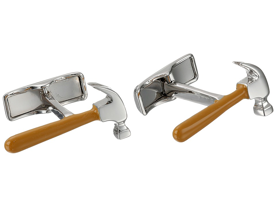 Cufflinks Inc. - Sterling Silver Hammer Cufflinks (Brown) Cuff Links