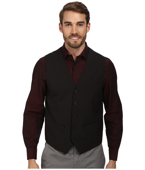 Perry Ellis - Pinstripe Suit Vest (Black) Men