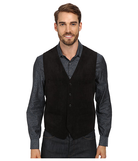 Perry Ellis - Solid Textured Velvet Five Button Vest (Black) Men's Jacket