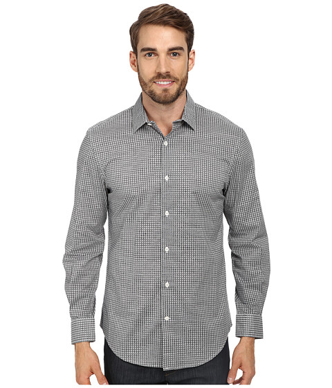 Perry Ellis - L/S Exclusive Mini Graphic Print Shirt (Black) Men