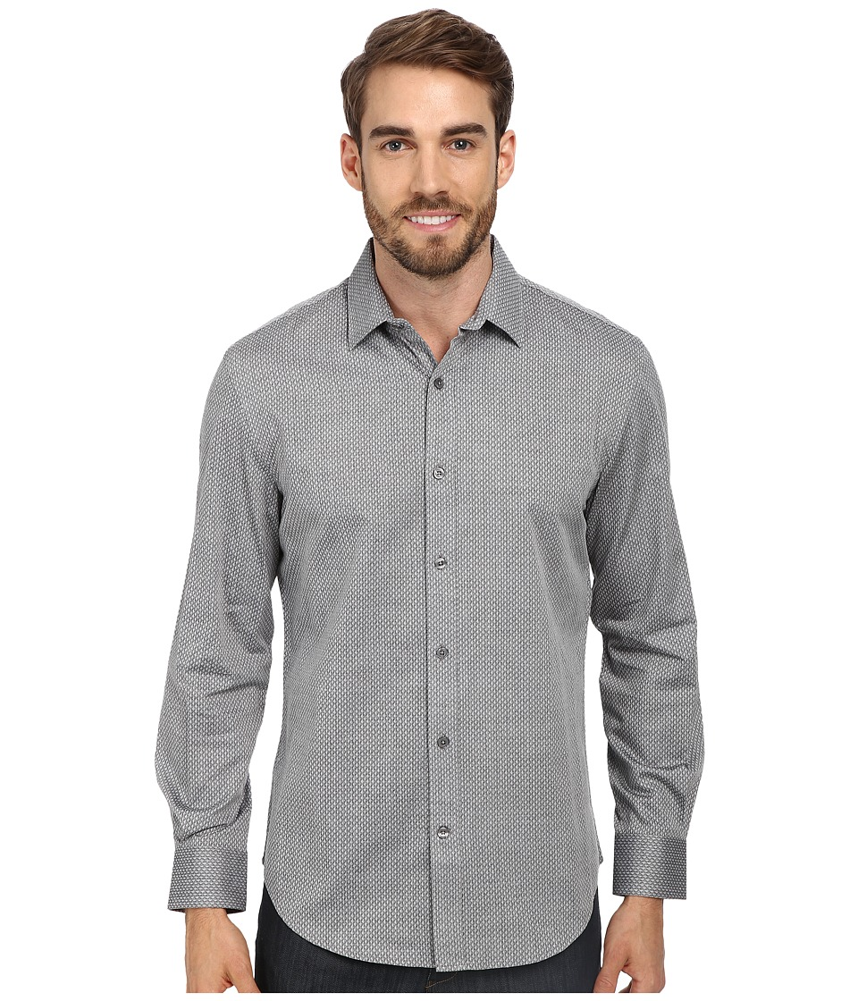 Perry Ellis - Two-Tone Jacquard Print Shirt (Black) Men's Long Sleeve Button Up