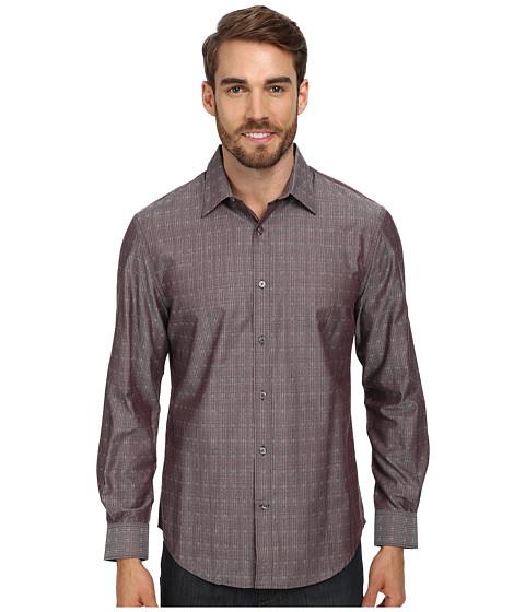 Perry Ellis - L/S Stripe Doby Dress Shirt (Cabernet) Men's Long Sleeve Button Up