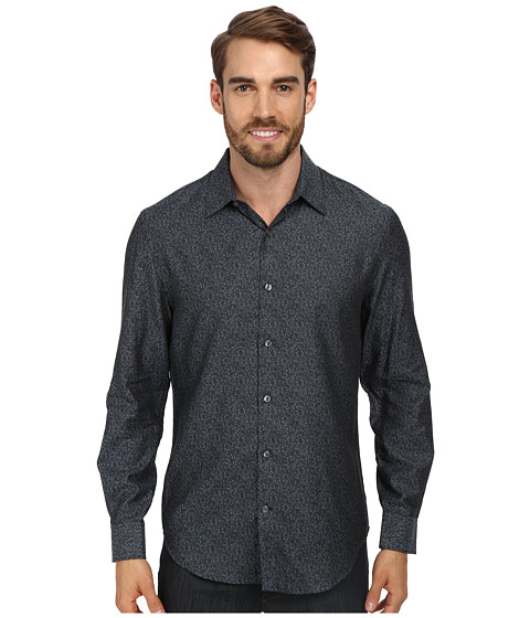 Perry Ellis - L/S Printed Abstract Shirt (Black) Men's Long Sleeve Button Up