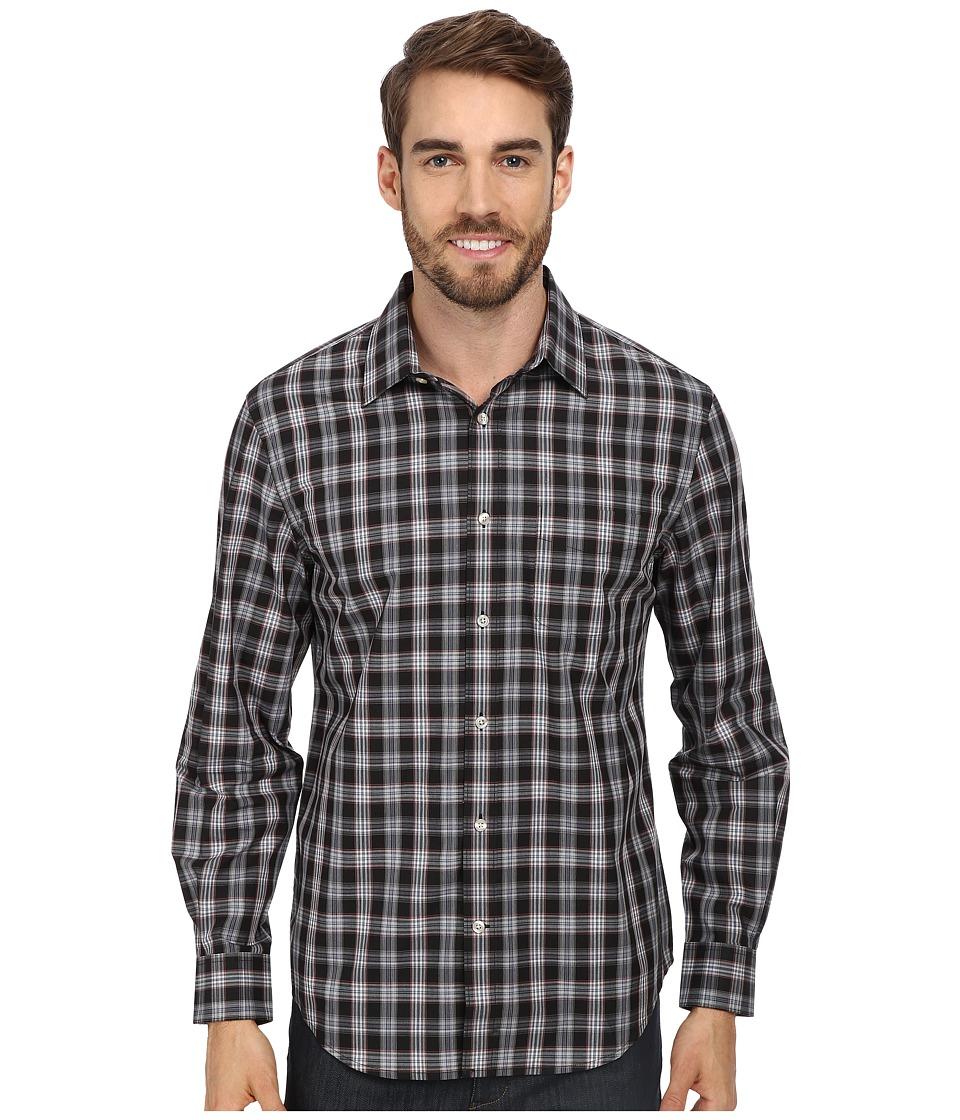 Perry Ellis - L/S Plaid Pattern Shirt (Black) Men