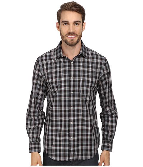 Perry Ellis - L/S Plaid Pattern Shirt (Black) Men's Long Sleeve Button Up