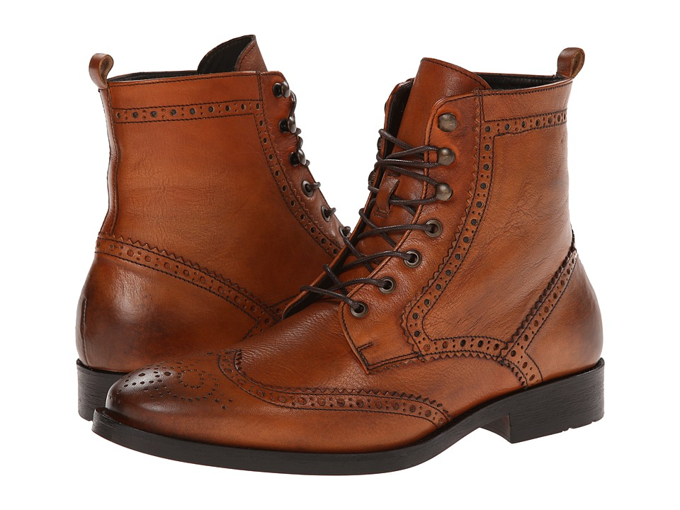 Testoni BASIC - D45626GVM (Cognac Linz Calf) Men's Dress Lace-up Boots