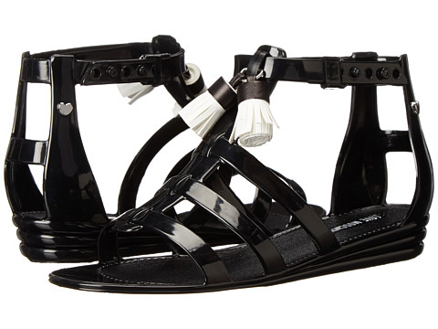 LOVE Moschino - Gladiator Sandals with Tassels (Black/White) Women's Flat Shoes