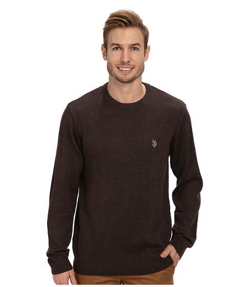 U.S. POLO ASSN. - Solid Crew Neck Sweater (Cocoa Heather) Men's Sweater
