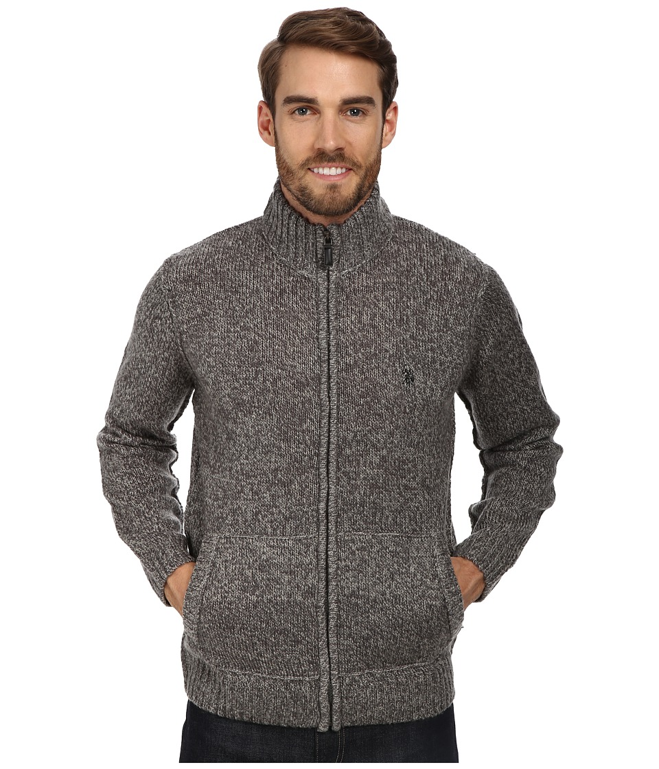 U.S. POLO ASSN. - Full Zip Mohair Sweater (Grey Marl) Men's Sweater