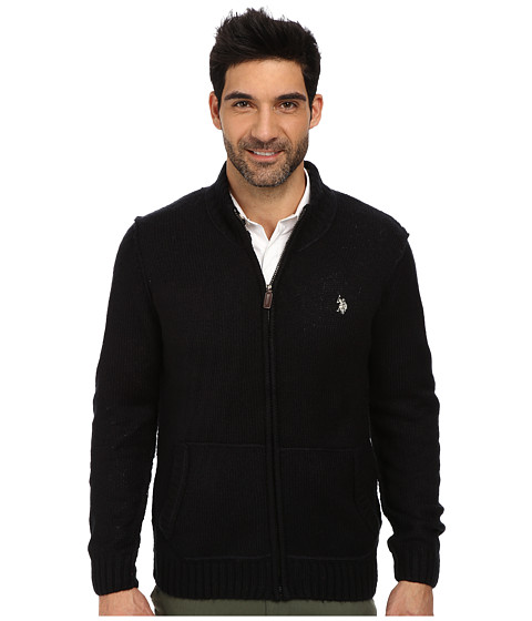 U.S. POLO ASSN. - Full Zip Mohair Sweater (Navy) Men