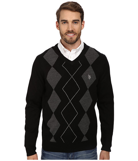 U.S. POLO ASSN. - L/S V-Neck Argyle Sweater (Black) Men