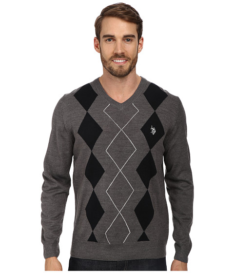 U.S. POLO ASSN. - L/S V-Neck Argyle Sweater (Iron Heather) Men