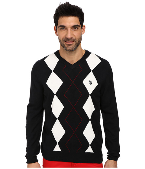 U.S. POLO ASSN. - L/S V-Neck Argyle Sweater (Navy) Men's Sweater