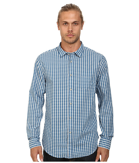 J.A.C.H.S. - Classic Fit Gingham Shirt (Blue) Men's Clothing
