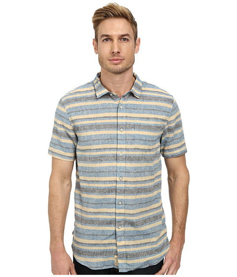 J.A.C.H.S. - Linen S/S Stripe Shirt (Blue) Men's Clothing