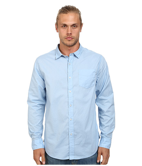 J.A.C.H.S. - Garment Dye Poplin Shirt (Placid Blue) Men's Clothing