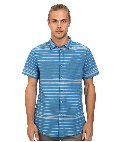 J.A.C.H.S. - Linen S/S Stripe Shirt (Deep Water) Men