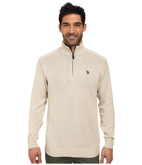 U.S. POLO ASSN. - 1/4 Zip Solid/Sherpa (Eggshell Heather) Men