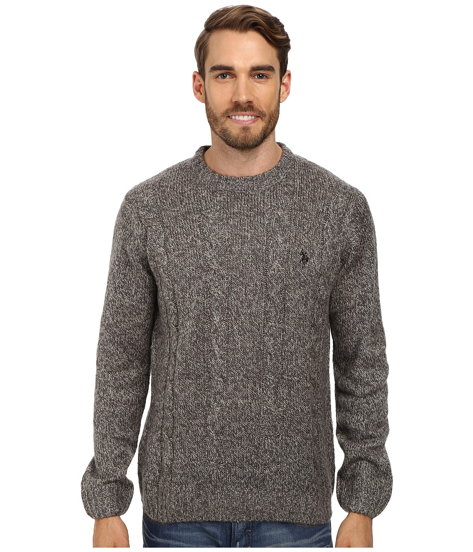U.S. POLO ASSN. - L/S Mohair Cable Fro (Grey Marl) Men's Sweater
