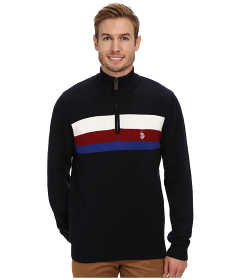 U.S. POLO ASSN. - 1/4 Zip Chest Stripe (Navy) Men's Sweater