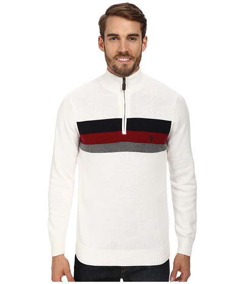 U.S. POLO ASSN. - 1/4 Zip Chest Stripe (White) Men's Sweater