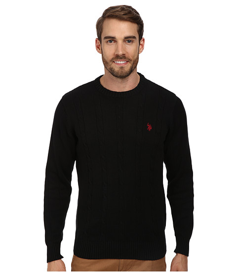 U.S. POLO ASSN. - L/S Cable Crew Neck (Black) Men's Clothing