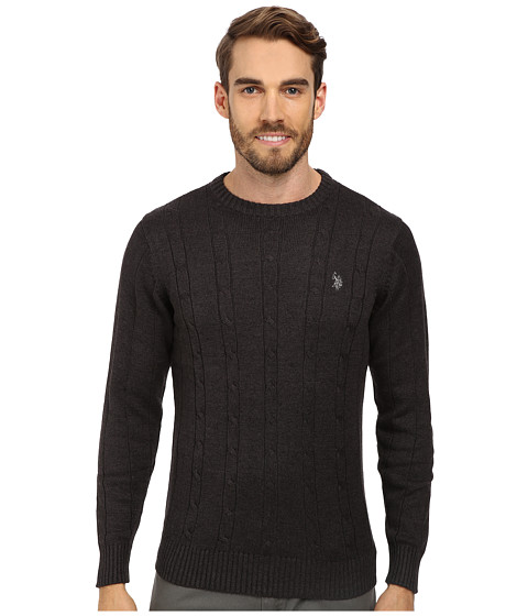 U.S. POLO ASSN. - L/S Cable Crew Neck (Charcoal Heather) Men's Clothing
