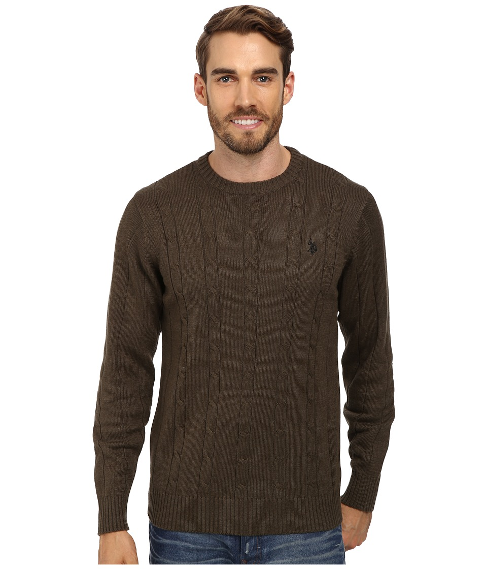 U.S. POLO ASSN. - L/S Cable Crew Neck (Olive Heather) Men