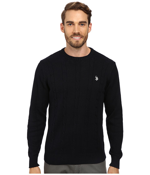 U.S. POLO ASSN. - L/S Cable Crew Neck (Navy) Men's Clothing