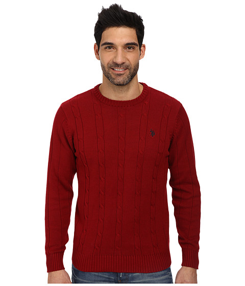 U.S. POLO ASSN. - L/S Cable Crew Neck (Barn Red) Men
