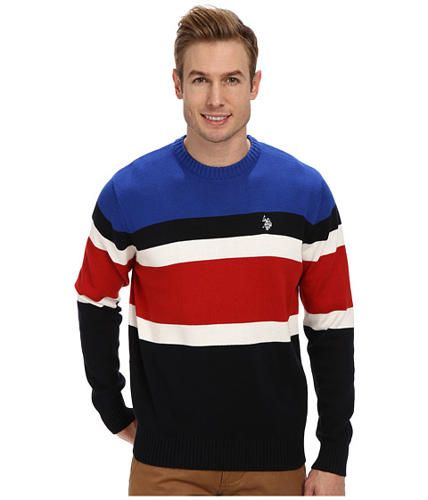 U.S. POLO ASSN. - Allover Stripe Crew (Navy) Men