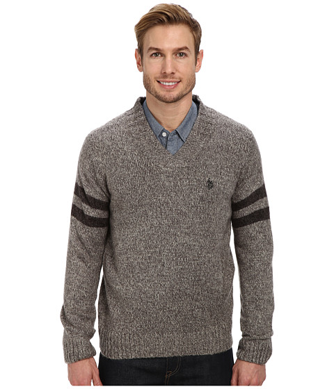 U.S. POLO ASSN. - L/S Mohair Cross Ove (Grey Marl) Men's Clothing