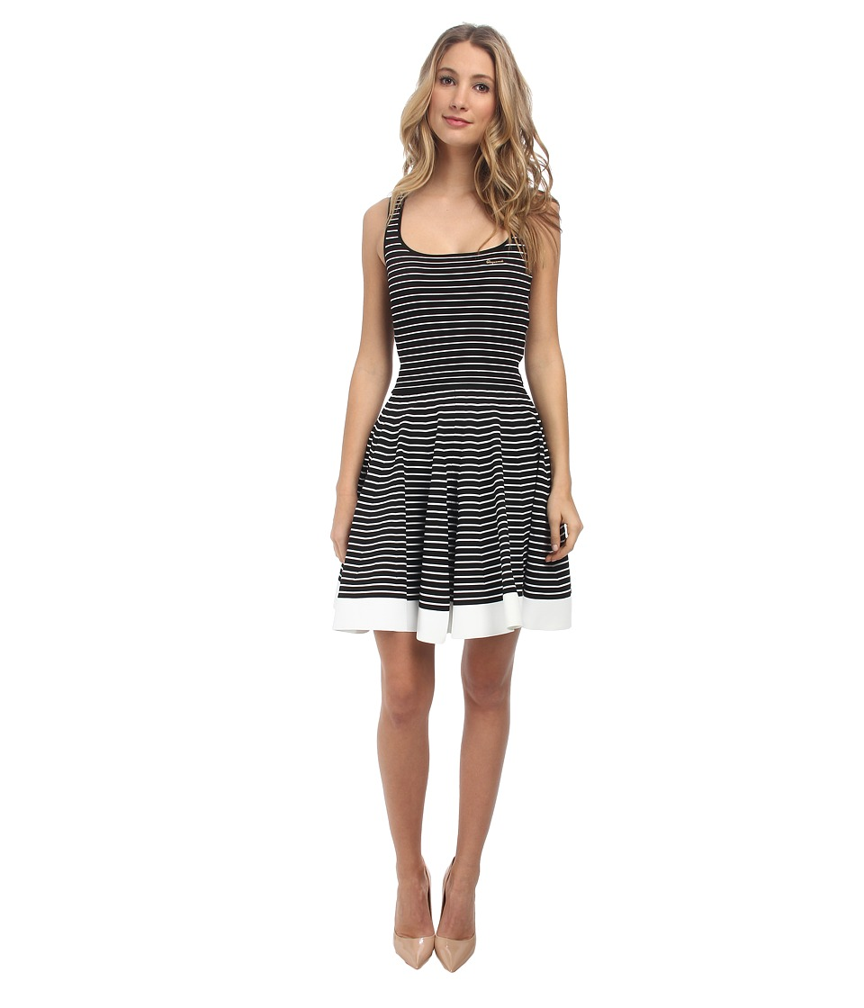 DSQUARED2 - Striped Scoop Neck Dress (Black/White) Women's Dress