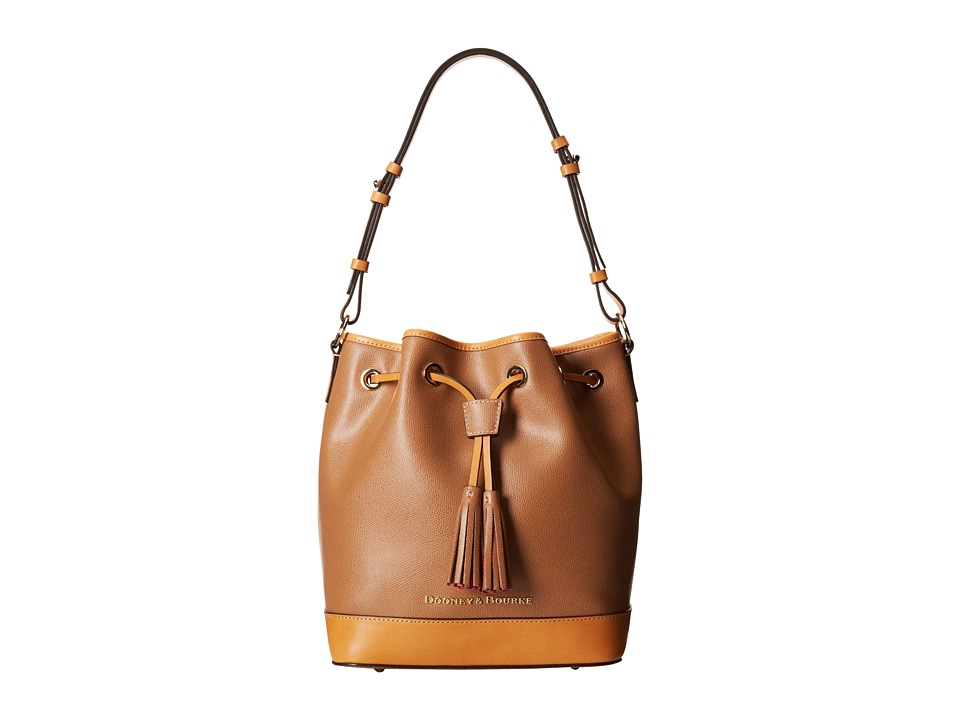 Dooney & Bourke - Claremont Drawstring (Tan w/ Butterscotch Trim) Shoulder Handbags