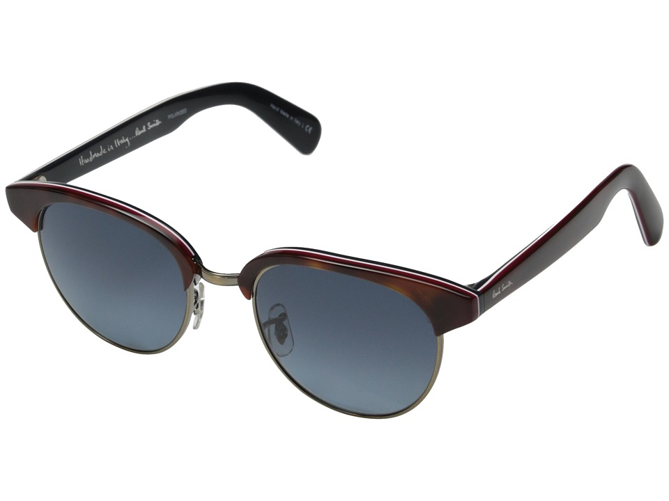 Paul Smith - Redbury (Cherrywood Stripe/Antique Gold/Blue Gradient Polarized) Fashion Sunglasses