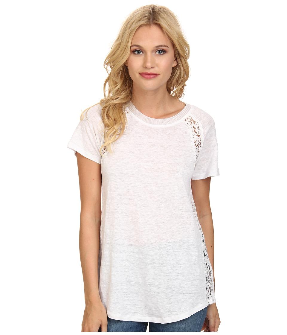 Rebecca Taylor - Short Sleeve Linen Lace Tee (Sea Salt) Women's T Shirt