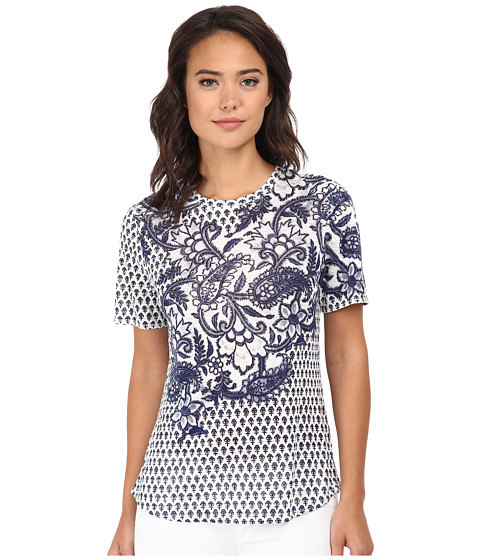 Rebecca Taylor - Short Sleeve Engineered Paisley Print Tee (Tanzanite) Women's T Shirt