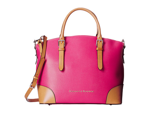 Dooney & Bourke - Claremont Domed Satchel (Fuchsia w/ Butterscotch Trim) Satchel Handbags