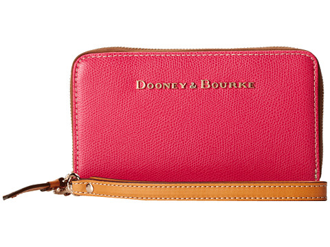 Dooney & Bourke - Claremont Zip Around Credit Card Phone Wristlet (Fuchsia w/ Butterscotch Trim) Wristlet Handbags
