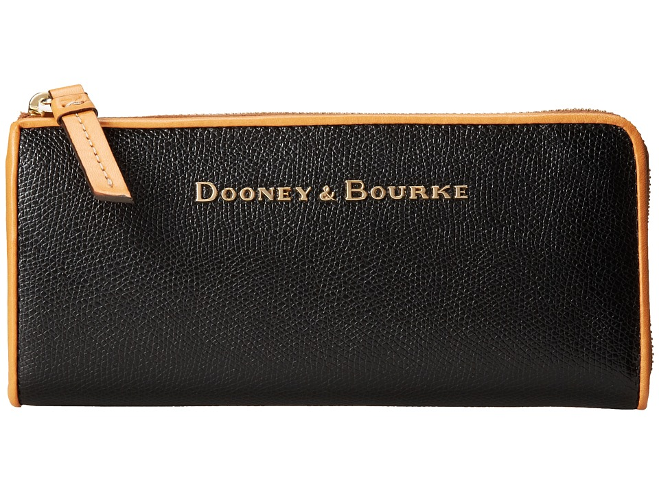 Dooney & Bourke - Claremont Zip Clutch (Black w/ Butterscotch Trim) Clutch Handbags