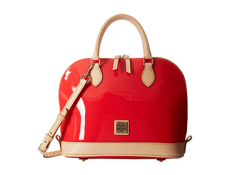 Dooney & Bourke - Patent Zip Zip Satchel (Strawberry w/ Natural Trim) Satchel Handbags