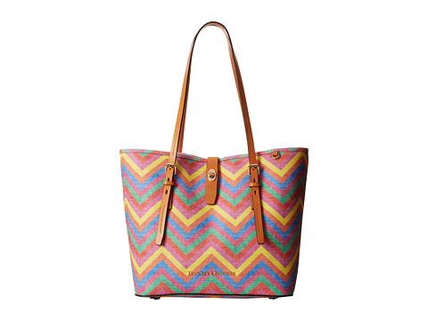 Dooney & Bourke - Claremont Multi Chevron Dover Tote (Multi w/ Butterscotch Trim) Tote Handbags