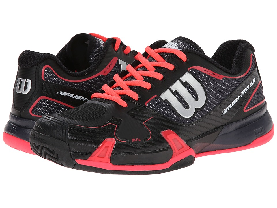 Wilson - Rush Pro 2.0 (Coal/Black/Red) Women's Tennis Shoes