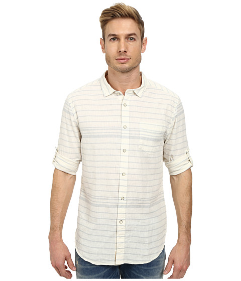 J.A.C.H.S. - Linen Horizontal Stripe Shirt (Blue) Men's Clothing
