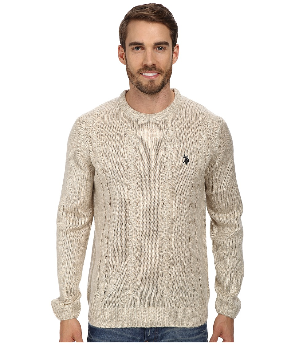 U.S. POLO ASSN. - L/S Mohair Cable Fro (Oatmeal Marl) Men's Sweater