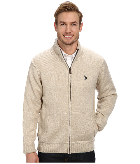 U.S. POLO ASSN. - Full Zip Mohair Sweater (Oatmeal Marl) Men's Sweater