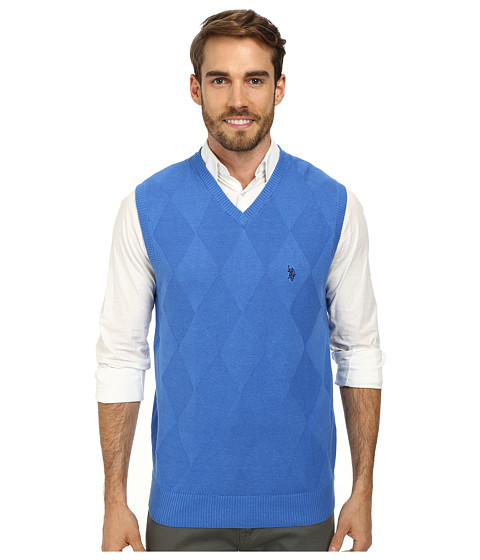 U.S. POLO ASSN. - Cotton Solid Argyle (Ocean Spray) Men's Clothing