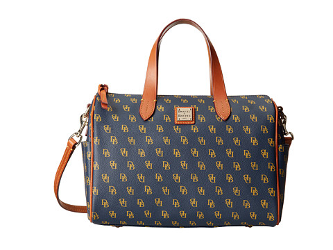 Dooney & Bourke - Gretta Olivia Satchel (Navy/Gold w/ Tan Trim) Satchel Handbags