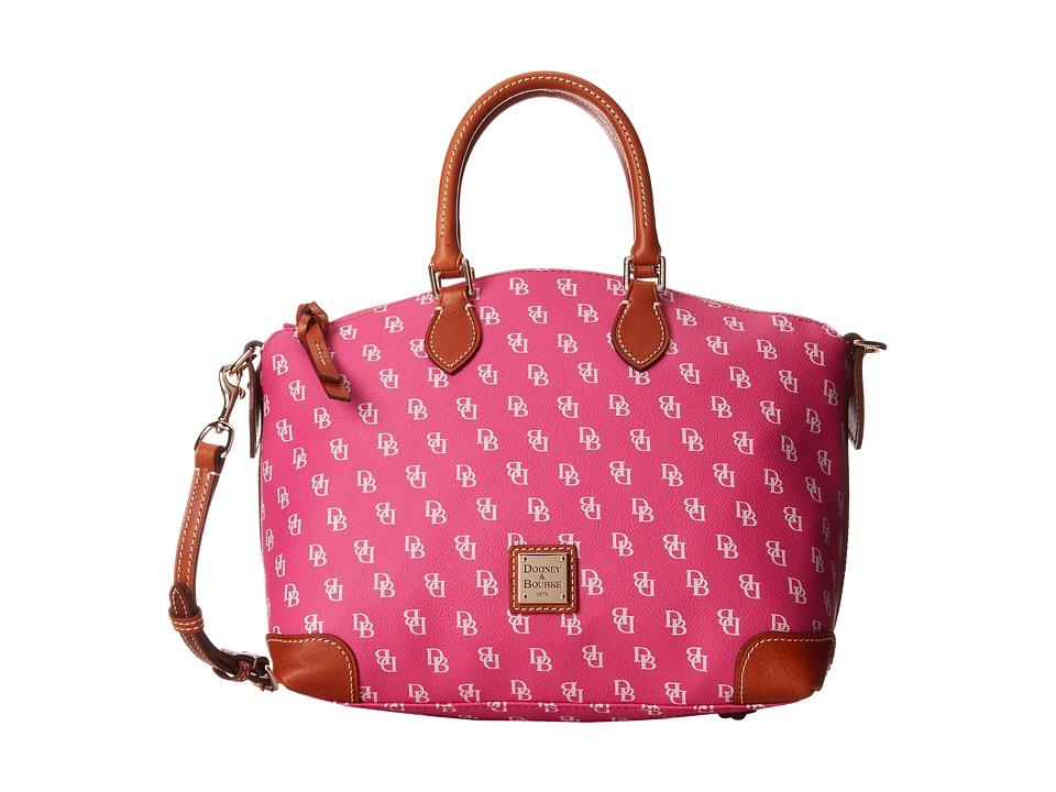 Dooney & Bourke - Satchel (Fuchsia/White w/ Tan Trim) Satchel Handbags