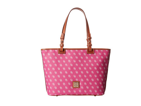 Dooney & Bourke - Small Leisure Shopper (Fuchsia/White w/ Tan Trim) Handbags